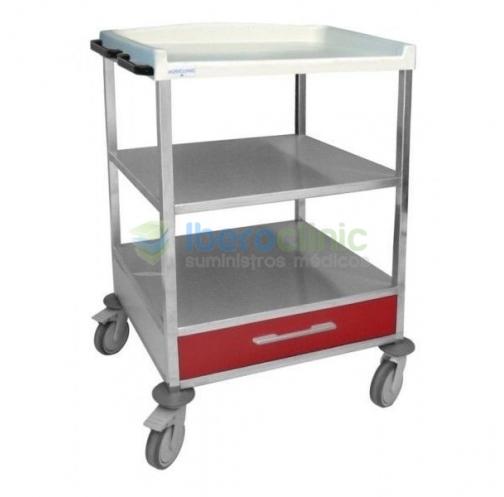 Carro hospitalario estante intermedio y cajón inferior
